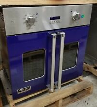 VIKING FRENCH DOOR SINGLE WALL OVEN 30  COBALT BLUE  REFURBISHED