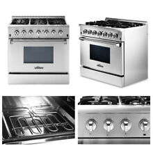 Thor Dual Fuel 36  Range Professional HRD3606U Stainless Steel 6 Burners