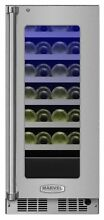Marvel MP15WS4R  15  Wide 24 Bottle Built In Single Zone Wine Cooler with LED