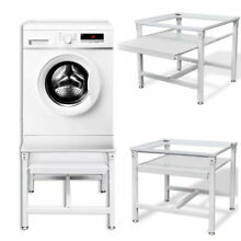 Adjustable Washing Machine Pedestal Dryer Laundry Stand with Pull Out Shelf