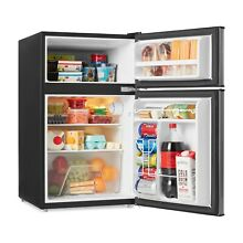 Galanz 3 1Cu Ft 2 Door Mini Fridge w Freezer Black Reversible Door glass shelves
