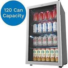 HOmeLabs Beverage Refrigerator and Cooler   120 Can Mini Fridge with Glass cl