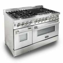 ZLINE 48 in  6 cu  ft 7 Gas Burner Electric Oven Range in Stainless Steel 48 In