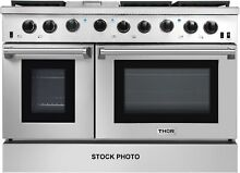 THOR KITCHEN 48  PROFESSIONAL 6 BURNER  GRIDDLE AND 2 OVEN RANGE STAINLESS STEEL