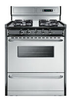 Summit TTM23027BKSW Stainless Steel 30 W 3 7 Cu  Ft  Built In Gas Range
