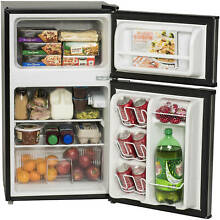 3 2 Two Door Mini Fridge w Freezer Black Cold Reversible Compact Refrigerator