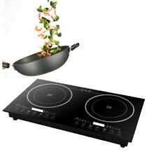Electric Dual Induction Cooker Hob Cook Top Stove Ceramic Black 2400W 2600W USA