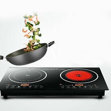 Double Induction Cooktop Electric Hob Cooker Ceramic Stove 2 Burners Black