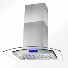 Cosmo Island Range Hood 30 in  380 CFM Ducted Lighted Stainless Steel