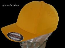 FLEXFIT PLAIN FITTED CAPS, HATS, YELLOW FITTED FLEXI FIT BASEBALL, MENS, LADIES