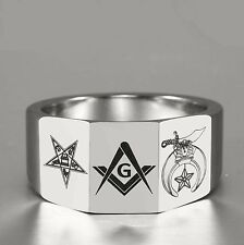 Eastern Star With Shriner 12mm Heavy Tungsten Carbide Ring 3-Facets Masonic and