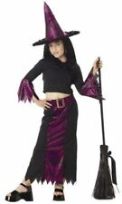 JAZZY WITCH Web Top, Skirt, Belt W/Matching Cone Hat Child Large 10-12 Costume