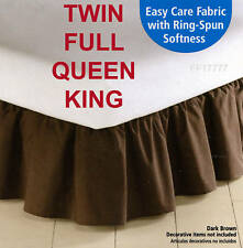 "MAINSTAYS Bedskirt Ruffle Solid Color Chocolate DARK BROWN 14"" Drop 180 TC"