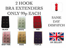 2 HOOK BRA EXTENDER/EXTENSION BLACK,WHITE OR RED