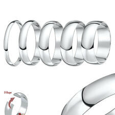 9ct White Gold Light Weight D Shaped Wedding Ring Band (Solid & Hallmarked)
