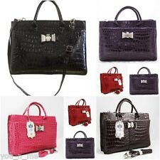 LYDC LADIES CROC HANDBAG LAPTOP BRIEFCASE BAG