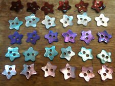 "VINTAGE USA BUTTONS 3/8"" Mother of Pearl STARS 6 pcs Shell"