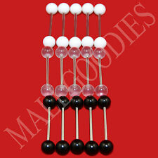 V074 Acrylic Tongue Rings Barbell Bar White Black Clear Plain Colors Retainers