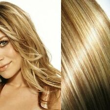 CLIP ON HAIR EXTENSIONS ANY LENGTH BLONDE HIGHLIGHT
