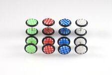 16G Checkered Fake Cheater Ear Plugs Earrings Look 0G