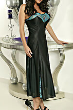Sexy Tapered Fit Tricot Plus Size Gown   Long Nightie with Aqua Lace #JETLN