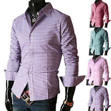 PLUS SIZE Mens Designer Shirt Slim Fit Casual Formal Dress Shirts Tops S M L XL