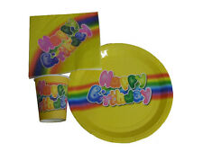 Happy Birthday Plates Napkins or Cups Various Sizes Rainbow Yellow