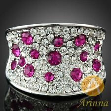 ARINNA fuchsia ornament finger ring clear white gold plated swarovski crystals