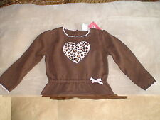 NWT GYMBOREE KITTY GLAMOUR LEOPARD CAT HEART BROWN RUFFLE KNIT WINTER SWEATER