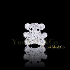 18k White Gold EP Brilliant Cut Crystal Little Bear Brooch Pin