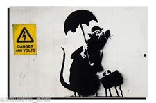 BANKSY GRAFFITI ART - WALL ART VARNISHED CANVAS PRINT - GENT RAT- 4 SIZES