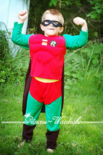 Halloween Children Costume Muscle Robin Outfit Set Dress Up Party Clothing 2-7Y