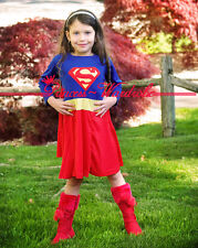 XMAS Christmas Gift Superman Girl Outfit Party Kids Costume Dress Present 2-7Y