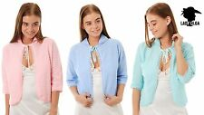 Knitted Bed Jacket With Tie Front Pink, Blue Mint Green up to XOS
