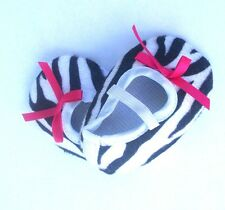 Zebra and Hot Pink Crib Shoes Girl Slippers