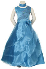 Flower Girl Pageant Blue Dress Graduation Party Evening Formal Size 8 12 14 16