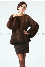 0033 Knit knitted hand made mink fur coat coats jacket jackets for women winter