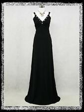 dress190 BLACK GRECIAN CROSSOVER PROM BALL EVENING VTG PARTY DRESS GOWN UK 14-26