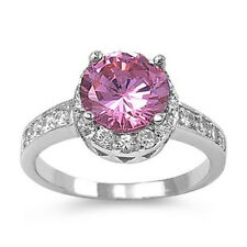 925 Sterling Silver Ring With Clear & Pink Cubic Zirconia Stone CZ Sz. 5 to 10