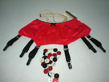6 & 8 STRAP LACE PANEL DESIGNER SUSPENDER BELT RED WITH BLACK TRIM MADE IN UK