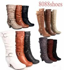 Fashion Low Heel Mid Knee Calf Zipper Dress Boots Women's Shoes Size 5 - 10 NEW