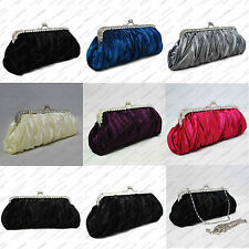SATIN PLEATED PATTERN CRYSTAL EVENING /CLUTCH BAG
