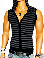 NWT OLDIES BLACK-GRAY STRIPED SLEEVELESS HOODED BUTTON UP MUSCLE SHIRT BC-4009