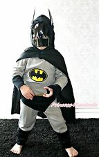 Silver Grey Batman Hero Outfit Boys Kids Party Costume Present 2-7Y