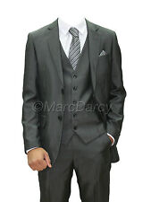 MENS CHARCOAL 3PC.SUIT IDEAL FOR WEDDINGS,SCHOOL PROMS,OFFICE WEAR ALL SIZES