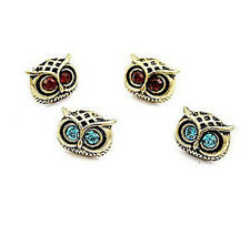 Vintage style crystal eye bronze owl head stud earrings