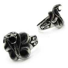 2pcs Men PUNK gothic fleur de lis stainless steel terror king cobra snake ring