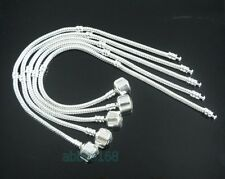 10 Snake Chain Silver Plated Charm Bracelets Fit European Beads Choose Size L01