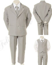Boys Formal Gray Tuxedo vest tie Suit Set 5-Piece set Size (S-XL, 2T-20)