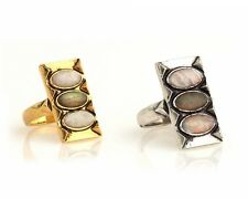 NEW HOUSE OF HARLOW 1960 GOLD SILVER PLATED MOONSTONE, LABADORITE VINTAGE RING